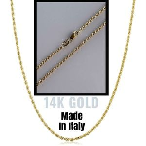 HarlemBling Solid 14k Yellow Gold Rope Chain